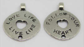 Bedel Love Life Live Life & Follow your heart stainless steel 17x20mm