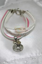 Ibiza style armband roze/wit (nr 110)