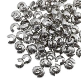 Knijpkraal verberger 4mm Antiek Zilver set 10 stuks