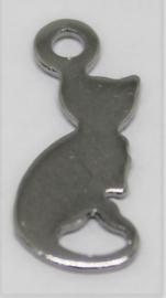 Bedel Kat 13 x 6 mm antiek zilver