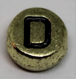 Letterkraal D goud  Ø 6mm