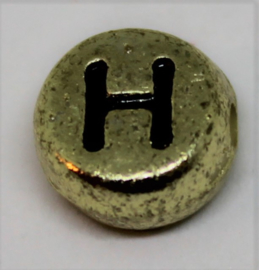 Letterkraal H goud Ø 6mm