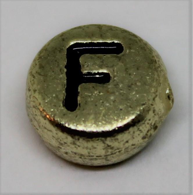 Letterkraal F goud  Ø 6mm