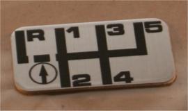 Plaatje schakelpatroon BE01 (achteruit naast de 1)