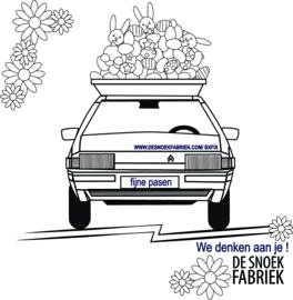 ansichtkaart Pasen Citroen BX De Snoekfabriek