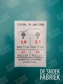 Tyre pressure 170/65 TRX