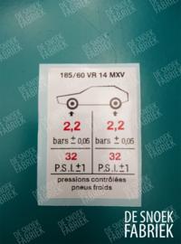 Tyre pressure 185/60