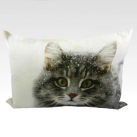 Snow Kitty - Canvas Cushion