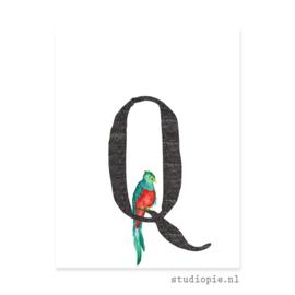 de Q van QUETZAL | letterkaartje