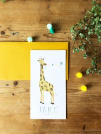 Geboortekaartje Jake met giraffe en slingertje