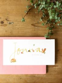 Geboortekaartje Jonna! herfstkleuren, okergele handlettering