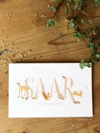 Geboortekaartje Saar! Lieve kleuren met bosdieren voor een meisje