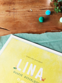 Geboortekaartje Lina! Zomers kaartje met geel en krabbetje