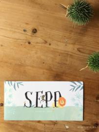 Dubbele geboortekaart voor een jongetje in junglethema voor Sepp