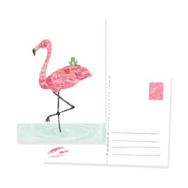Ansichtkaartjemet Flamingo en kikker, ze zijn BFF