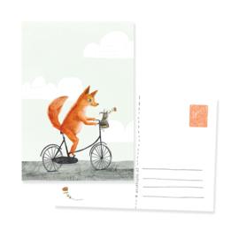 Ansichtkaart vos en muis op de fiets