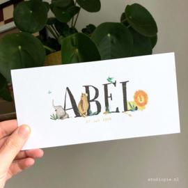 Geboortekaartje jungle Abel, kaartje met een leeuw, olifant, beer en vogeltjes