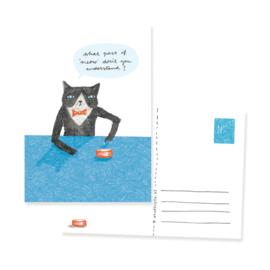 Ansichtkaartje met hongerige kat