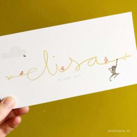 Geboortekaartje handgeschreven Elisa, sierlijk kaartje met een aapje, vogeltje en een bijtje
