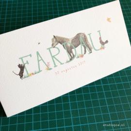Geboortekaartje op de boerderij Fardau, pony, kip, bij, vogeltje en poes
