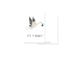 minikaartje It's a baby met ooievaar | per 5