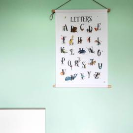 textielposter dierenalfabet  letters