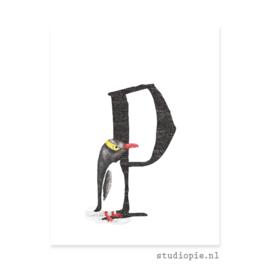 de P van PINGUIN | letterkaartje