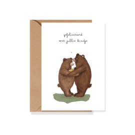 Felicitatiekaart baby berenfamilie