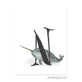 de N van NARWAL letterkaartje