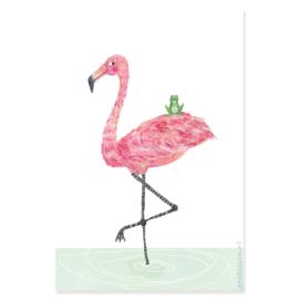 poster flamingo en kikker zijn BFF  -A4