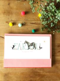 Geboortekaartje Fardau! Zeegroen met paard en poezen