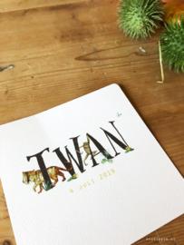 Geboortekaartje Twan!  Jungle kaartje met aapje en tijger