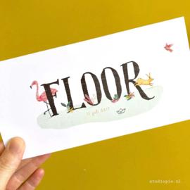 Lief tropisch geboortekaartje Floor, flamingo, kikker, haas,
