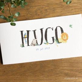 Jungle geboortekaartje Hugo, leeuw, tropische vogel en olifant