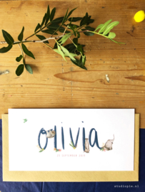 Geboortekaartje Olivia in kobaltblauw met olifant en andere dieren