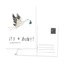 schattige kaart ooievaar It's a baby