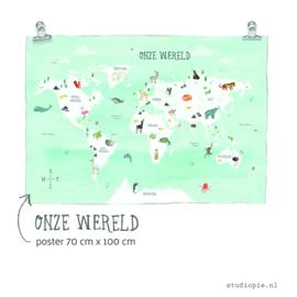 wereldkaart met dieren poster  - 100 x 70 cm