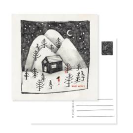 kerstkaart winter - origineel geillustreerde kerstkaartje huisje