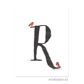 de R van ROODBORSTJE | letterkaartje