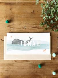 Geboortekaartje Jonah!  Kaartje met walvis en krab