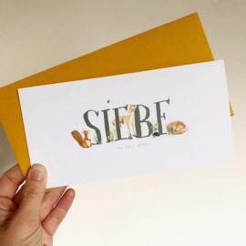 Vintage look geboortekaartje Siebe, eekhoorn, vos, hertje
