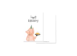 Grappig minikaartje met feestvarken | per 5