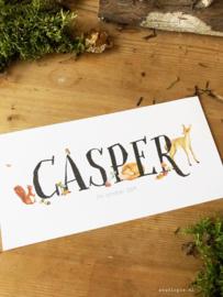 Geboortekaartje Casper herfst bosdieren