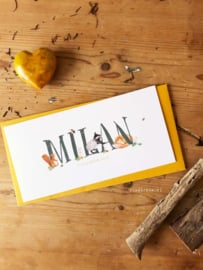 Geboortekaartje Milan. Vintage dierenkaartje