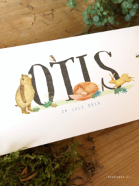 Bosdieren geboortekaartje Otis met een dikke merel