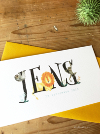 Geboortekaartje Jens! Vrolijk junglekaartje