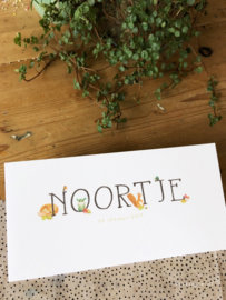 Geboortekaartje Noortje!  Kaartje met bosdieren, uil & vos