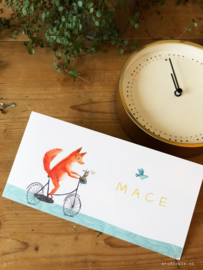 Geboortekaartje Mace! Vos op fiets illustraties.