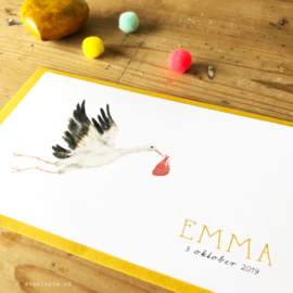 Geboortekaartje Emma ! Ooievaar meisje