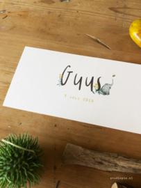 Geboortjekaartje Guus, vrolijk kaartje met een olifant en een bijtje